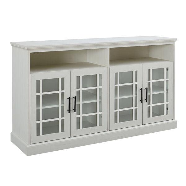 Hazel Brushed White Windowpane Glass Door TV Stand, image 4
