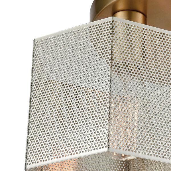 Compartir Polished Nickel and Satin Brass Three-Light Semi-Flush Mount, image 2