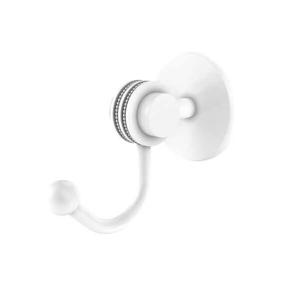 Satellite Orbit Two Matte White Three-Inch Robe Hook with Dotted Accents, image 1