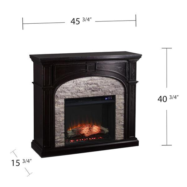 Tanaya Ebony Electric Fireplace with Faux Stone, image 6