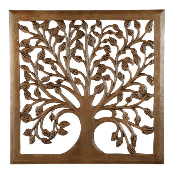 24 In. Light Brown Solaris Nine Tree of Life Wall Art, image 1