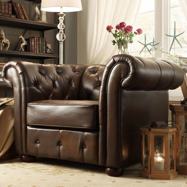 Norfolk Cocoa Chesterfield Arm Chair, image 1