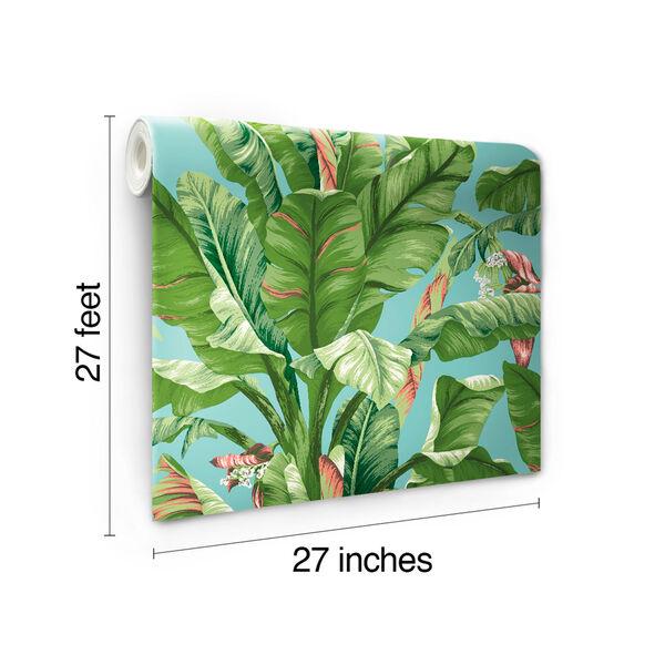 Ashford House Tropics Aqua and Green Banana Leaf Wallpaper, image 6