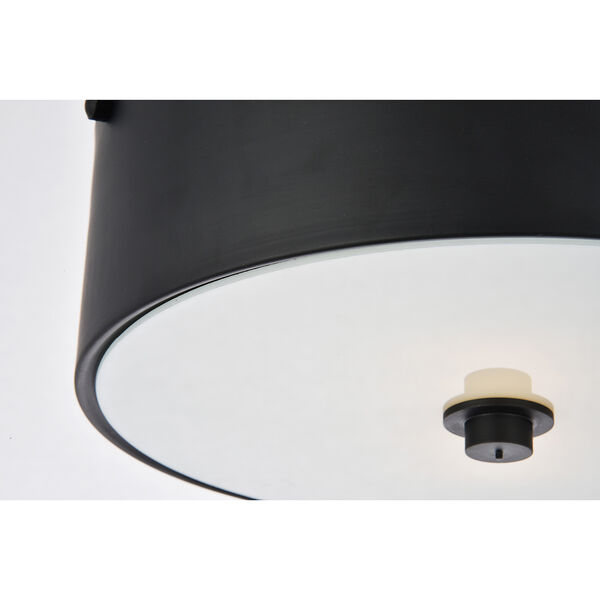 Hazen Flat Black and Frosted White Two-Light Flush Mount, image 5