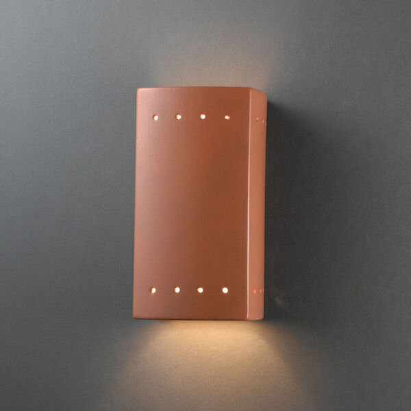 Ambiance Terra Cotta Five-Inch Closed Top and Bottom LED Rectangle Outdoor Wall Sconce, image 2
