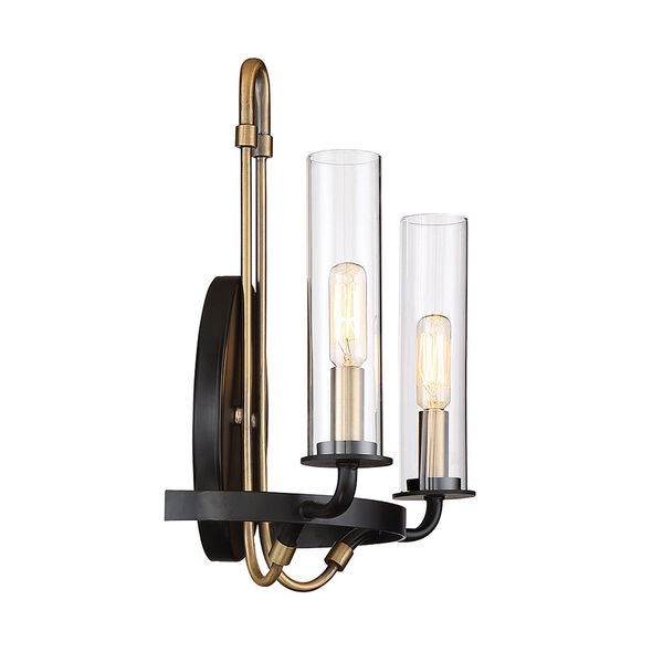 Whittier Vintage Black Two-Light Wall Sconce, image 3
