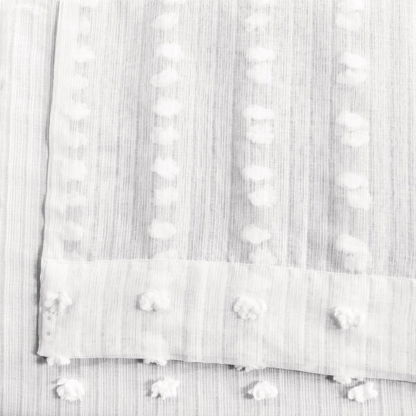 White Dot Patterned Faux Linen Sheer 108 x 50 In. Curtain Single Panel, image 5
