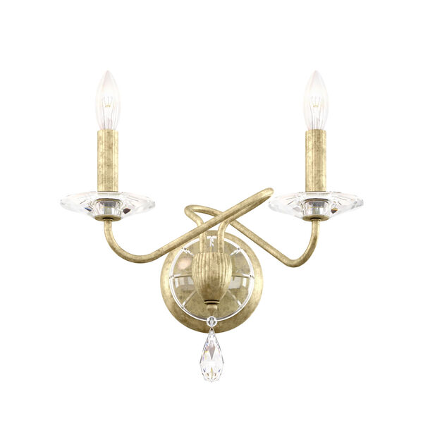 Arabesque Heirloom Silver Two-Light Wall Sconce with Clear Heritage Crystal, image 1