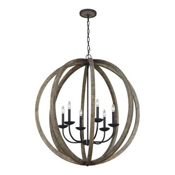 Hyattstown Weathered Oak Wood 38-Inch Six-Light Chandelier, image 1