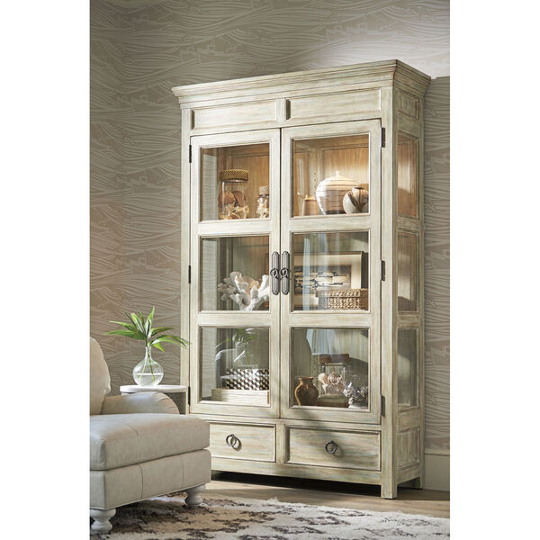 Ocean Breeze Greeen and Taupe Sanctuary Curio China Cabinet, image 2
