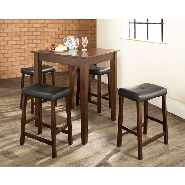 Five Piece Pub Dining Set with Tapered Leg and Upholstered Saddle Stools in Vintage Mahogany Finish, image 3
