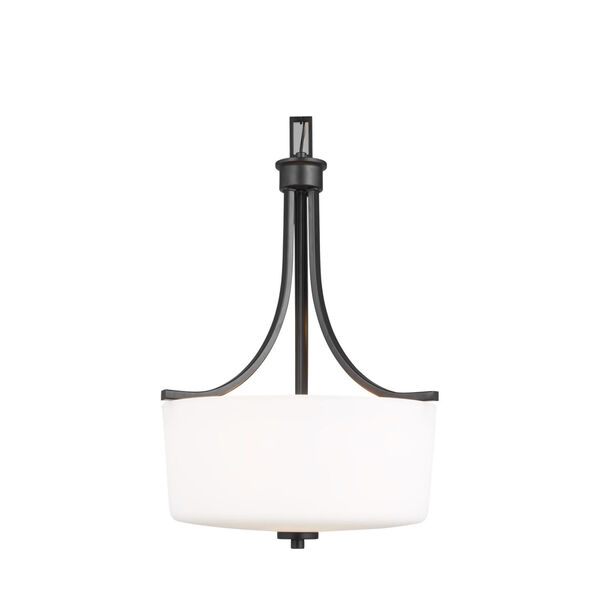 Kemal Midnight Black Three-Light Pendant with Etched White Inside Shade, image 4