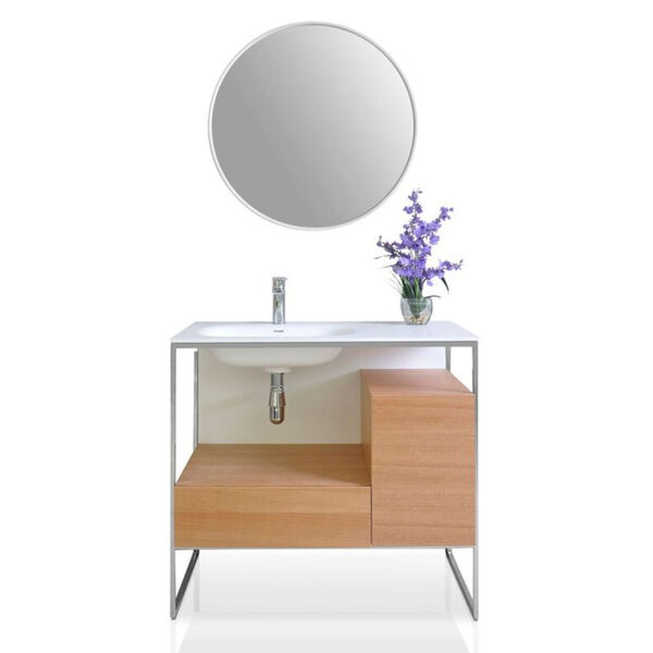 Tory Natural Walnut 36-Inch Vanity Console with Mirror, image 1