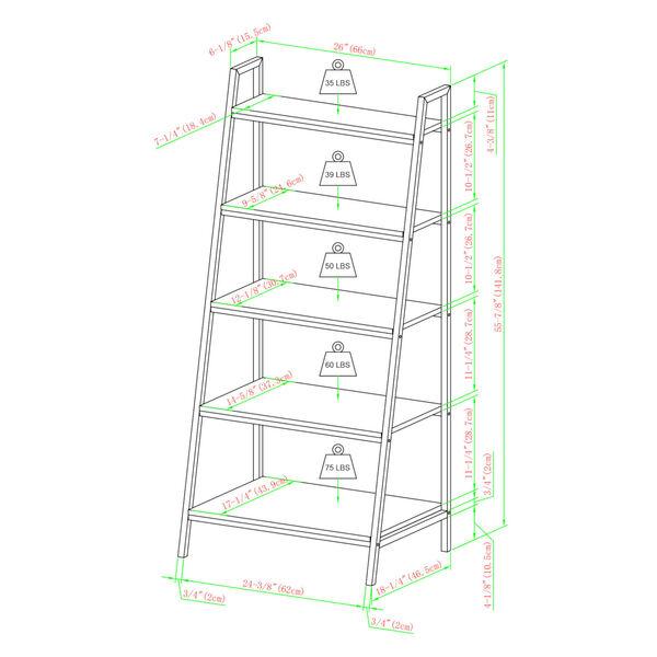 Arlo Reclaimed Barnwood Five Shelf Ladder Bookshelf, image 6