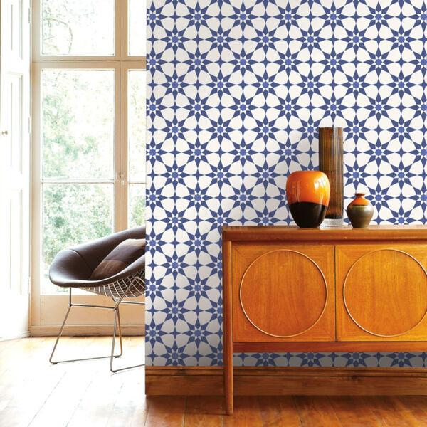 Soleil Blue Santorini Peel and Stick Wallpaper, image 1
