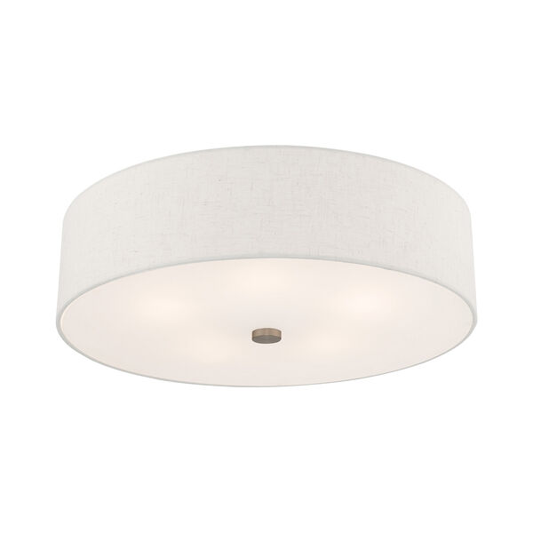 Meridian Brushed Nickel 22-Inch Five-Light Ceiling Mount with Hand Crafted Oatmeal Hardback Shade, image 4