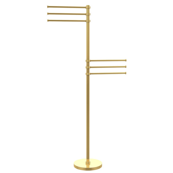 Towel Stand with 6 Pivoting 12 Inch Arms, Unlacquered Brass, image 1