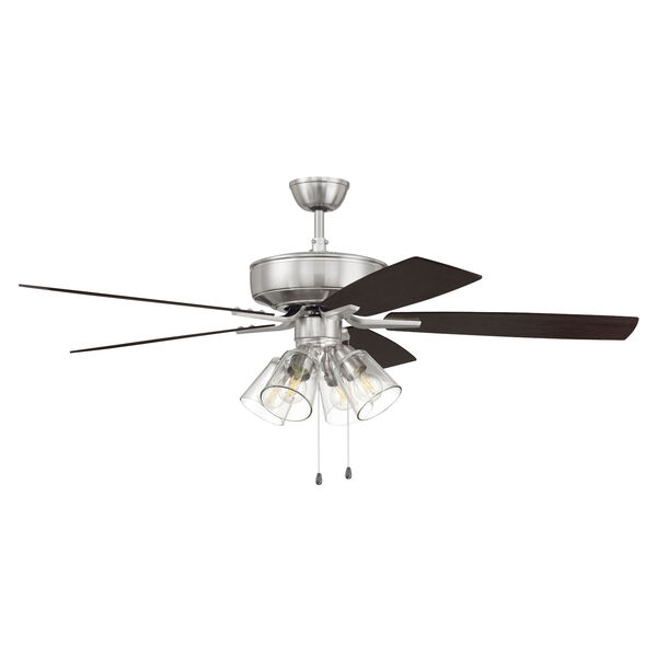 Pro Plus Brushed Polished Nickel 52-Inch Four-Light Ceiling Fan with Clear Glass Bell Shade, image 4