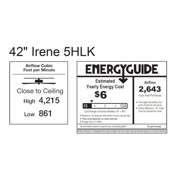 Irene-5HLK Brushed Brass and Walnut 42-Inch Ceiling Fan with LED Light Kit, image 2