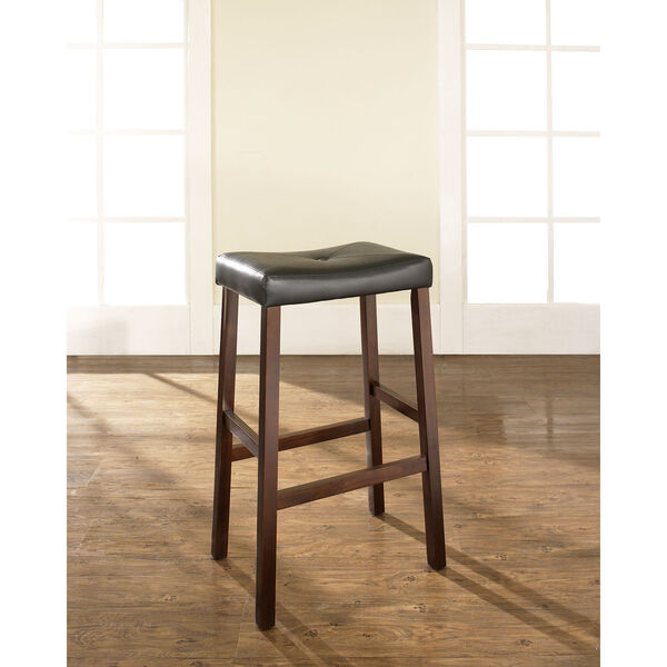 Upholstered Saddle Seat Bar Stool in Vintage Mahogany Finish with 29 Inch Seat Height- Set of Two, image 5