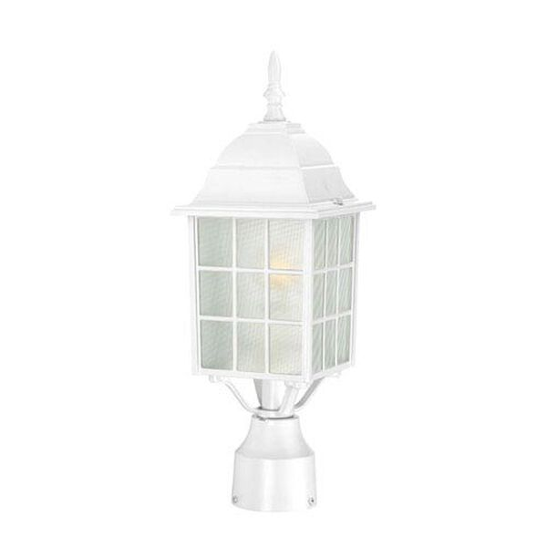 Adams White Finish One Light Outdoor Post Mount with Frosted Glass, image 1