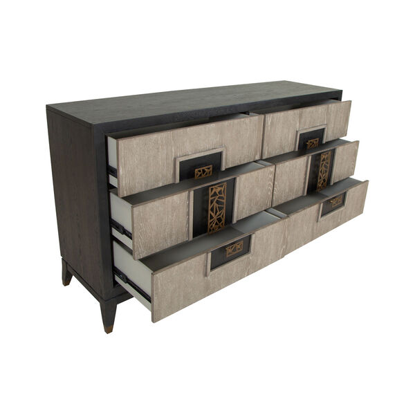 Ryker Nocturn Black and Coventry Gray Double Drawer Dresser, image 3