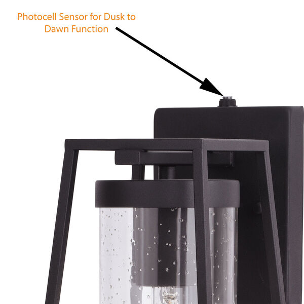 Nash Textured Black Seven-Inch One-Light Outdoor Wall Sconce with Dusk to Dawn Sensor, image 4