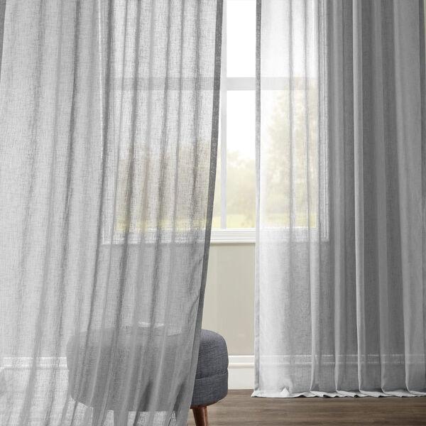 Nickel Faux Linen Sheer Single Panel Curtain Panel, 50 X 96, image 2