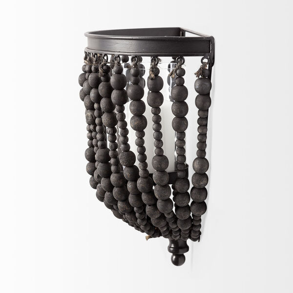 Liam II Black Wall Candle Holder with Wooden Bead, image 4