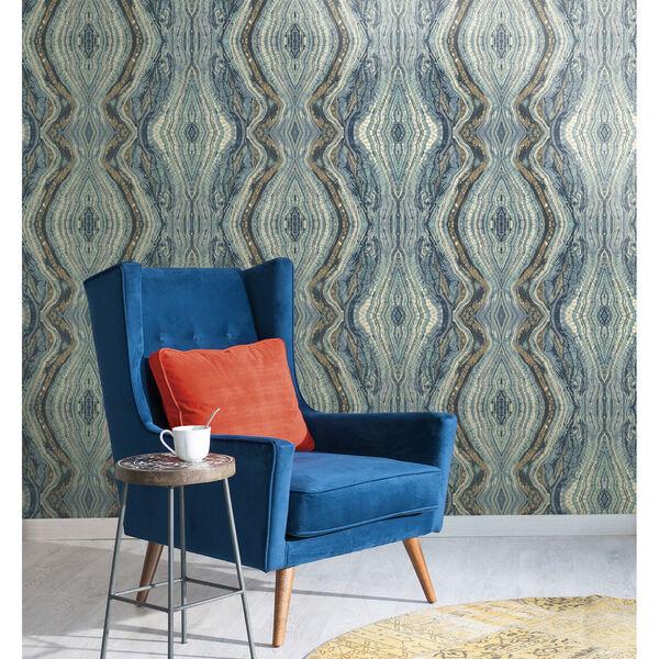 Antonina Vella Blue Kashmir Kaleidoscope Wallpaper, image 4