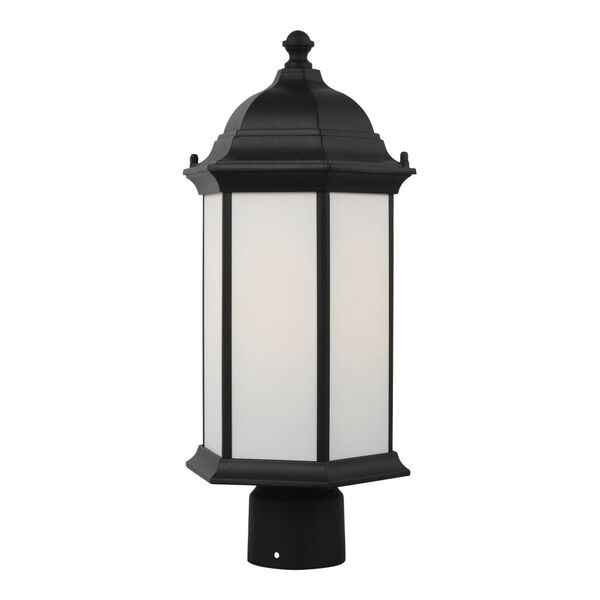Sevier Black One-Light Outdoor Post Mount with Satin Etched Shade, image 2