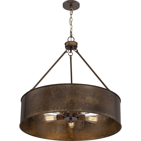 River Station Weathered Brass Five-Light Industrial Drum Pendant, image 1
