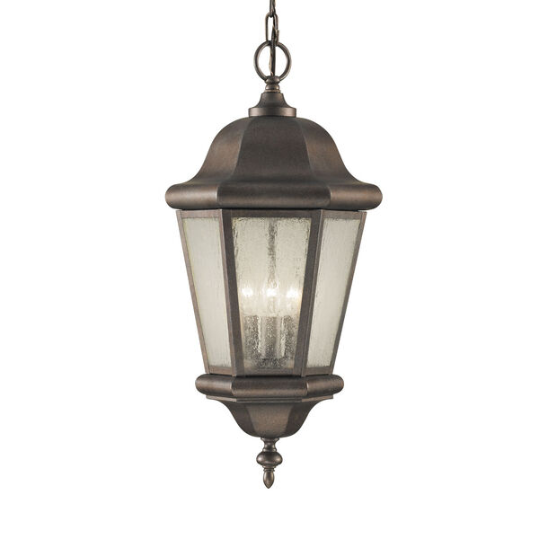 Martinsville Corinthian Bronze Three-Light Outdoor Pendant with Clear Seeded Shade, image 1