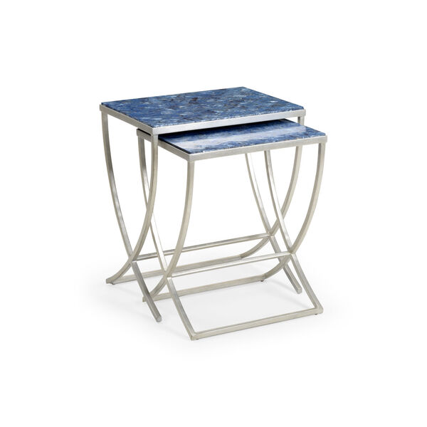 Blue 24-Inch Talitha Tables, Set of 2, image 1