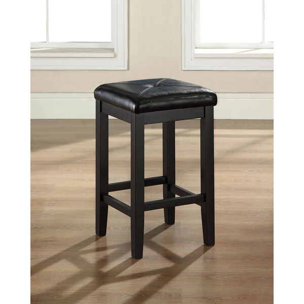 Upholstered Square Seat Bar Stool in Black Finish with 24 Inch Seat Height- Set of Two, image 2