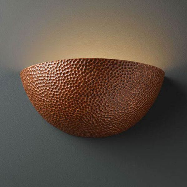 Ambiance Hammered Copper Large Quarter Sphere Bathroom Wall Sconce, image 1