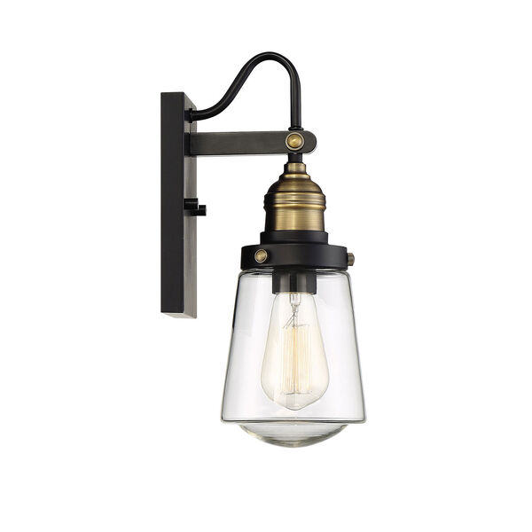 Afton Vintage Black with Warm Brass One-Light Outdoor Wall Sconce, image 5