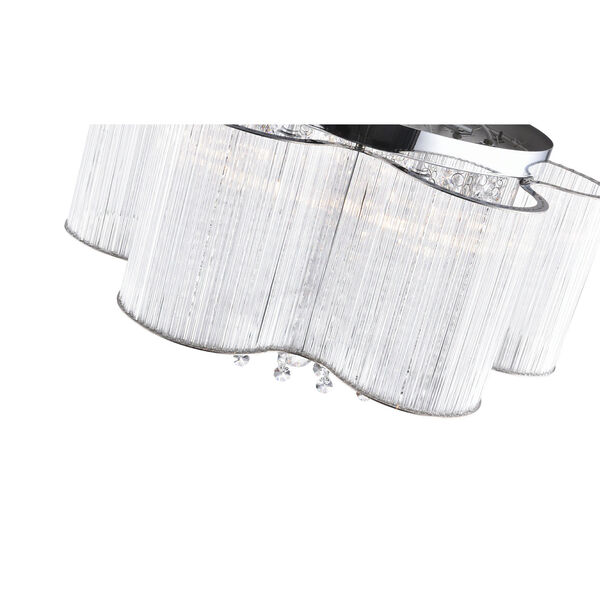 Spring Morning Chrome Seven-Light Drum Shade Flush Mount with K9 Clear Crystals, image 2