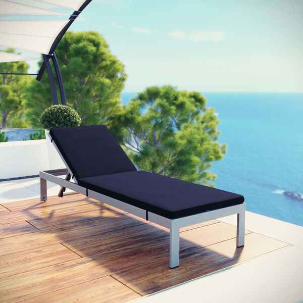 Darren Silver and Navy Outdoor Patio Chaise with Cushions, image 4