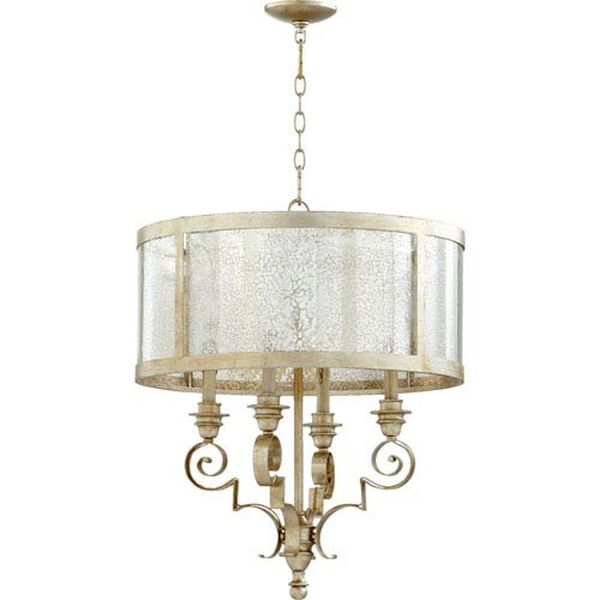 Bloomfield Aged Silver Leaf 23-Inch Four-Light Pendant, image 1
