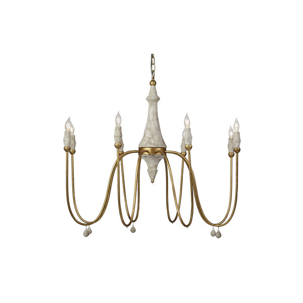 Clay Vintage Gold and Distressed Ivory Eight-Light Chandelier, image 1