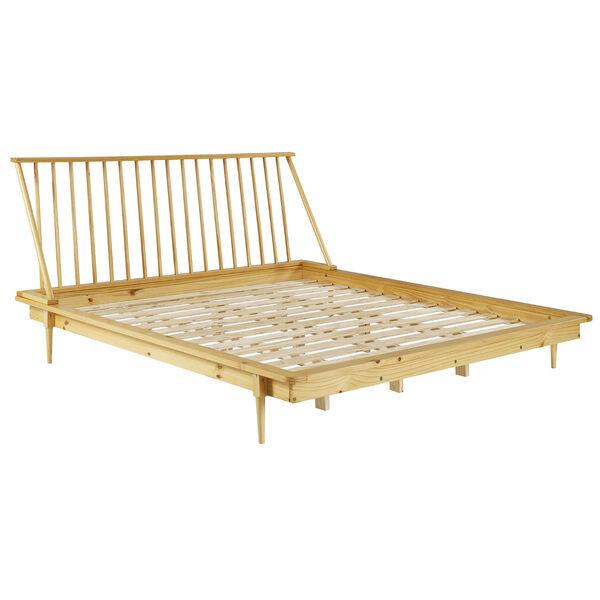 Light Oak Solid Wood Spindle Platform King Bed, image 3