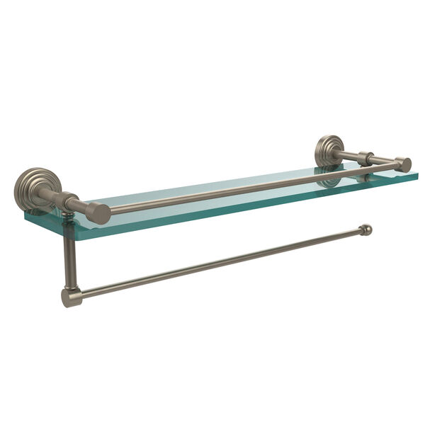 Waverly Place Collection Paper Towel Holder with 16 Inch Gallery Glass Shelf, Antique Pewter, image 1