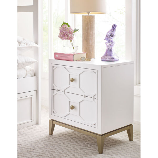 Chelsea by Rachael Ray White with Gold Accents Kids Nightstand with Decorative Lattice, image 2