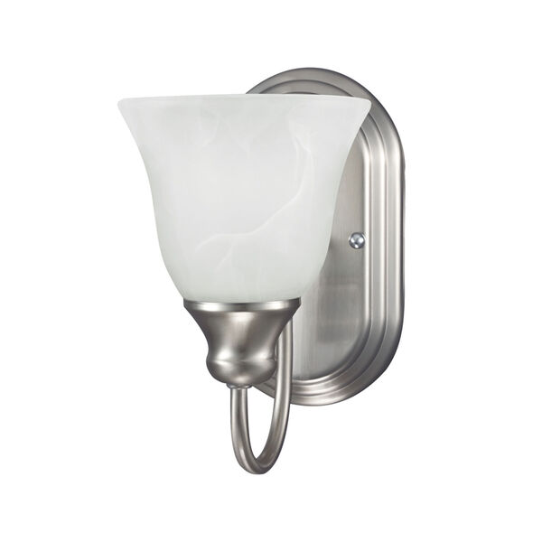 Windgate Brushed Nickel One Light Bathroom Wall Sconce with White Alabaster Glass, image 1