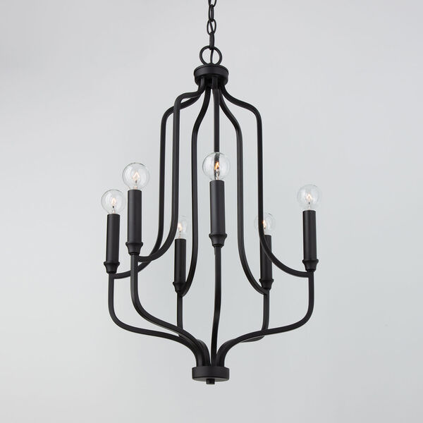 HomePlace Reeves Matte Black Six-Light Chandelier, image 3
