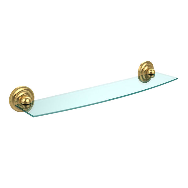 Prestige Que New Collection 24 Inch Glass Shelf, Polished Brass, image 1