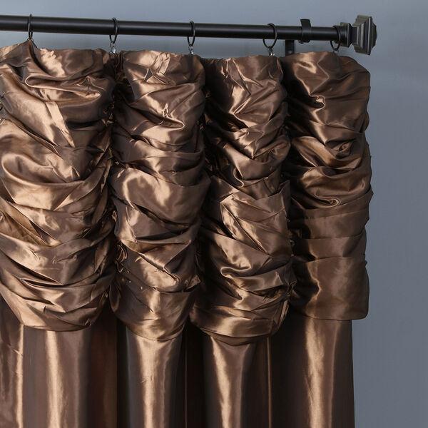 Ruched Mushroom 84 x 50-Inch Faux Silk Taffeta Curtain Single Panel, image 2