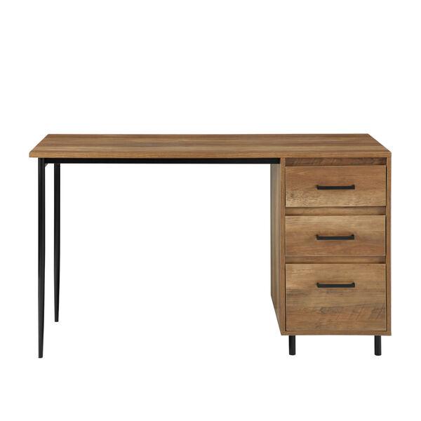 Ingrid Reclaimed Barnwood and Black Three Drawer Desk, image 3