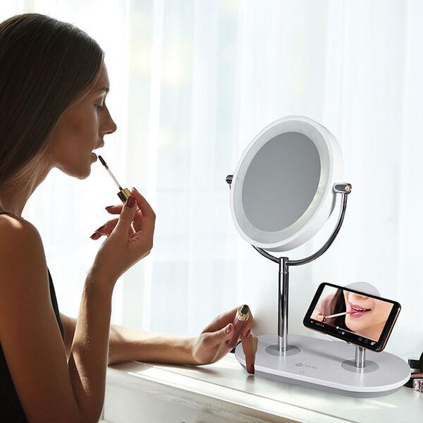 White Wireless Charging LED Makeup Mirror, image 6